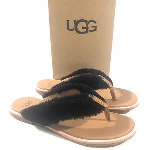 UGG ALICIA WOMENS FLIP FLOPS BLACK SIZE 8 US NIB